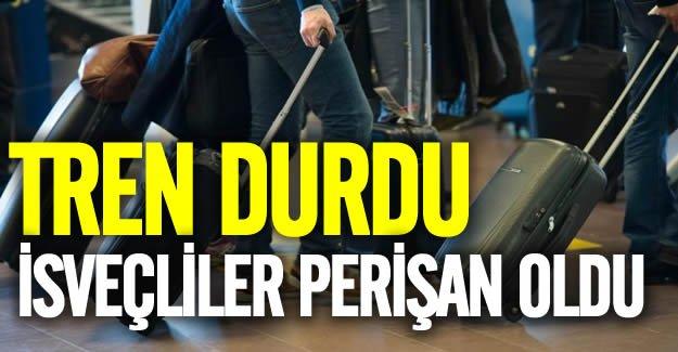 İsveç'te tren durdu, yolcular valizlerini alıp yürümek zorunda kaldı
