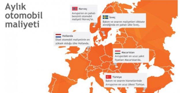 Otomobil onarımında en ucuz Türkiye, en pahalı İsveç