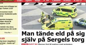 Stockholm'ün Merkezi'nde Bir Kişi Kendini Ateşe Verdi