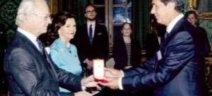 O Türk'e İsveç Kralı ve Kraliçesinden Altın Madalya