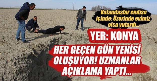 Konya'nın Karapınar ilçesindeki irili ufaklı yaklaşık 100 obruğun bulunduğu bölgede, ikisi son 2 ayda olmak üzere bir yılda 9 yeni obruk oluştu.