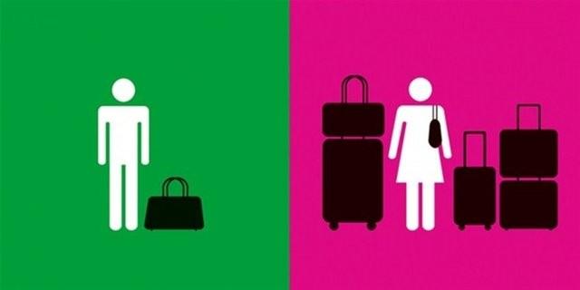 ALIŞVERİŞ  Erkek bir bavulla çıkar kadın tüm gardrobu toplar