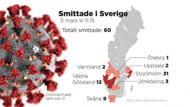 İsveç'te tatil nedeniyle yurtdışında bulunan ve çoğunluğunun virüsün patlak verip yayılan İtalya bölgesinden gelmesi İsveç'e de virüsü getirdi.