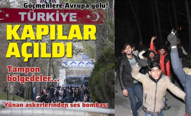 İdlib'de tırmanan gerginlik ve gelen şehit haberlerinin ardından Türkiye, Suriye'den gelecek göçmenlerin Avrupa'ya geçişini engellememeye karar verdi. Açıklamalardan sonra dün geceden bu yana göçmenler, sınır kapılarına yöneldi. Çanakkale'nin Ayvacık ilçesi sahillerine de gelmeye başlayan göçmenler Ege'de de sahil bölgelerinde toplanıyor. Ayvacık Yeşil Liman mevkiinde göçmenler şişme bot ile Yunanistan'ın Midilli Adası'na geçti. Muğla'nın Bodrum ilçesinde düzensiz göçmen hareketliliği arttı. Edirne'ye gelen bazı göçmenler, Pazarkule Sınır Kapısı ve Kastanies Sınır Kapısı arasındaki tampon bölgeye geçtiler. Yunan askerleri tampon bölgeyi otobüs çekerek kapattı. Yunan askerleri zaman zaman göçmenleri korkutmak için ses bombaları kullanıyor