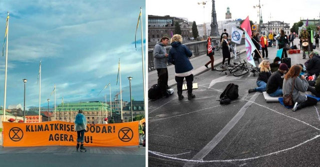 """İsveç'te iklim aktivistlerinin küresel ısınma ve iklimle mücadele konusunda sabahın erken saatlerinde yolla indi.  İklim aktivistleri Extinction Rebellion, Stockholm'ün merkezindeki iki köprüyü kapatarak ulaşımın aksamasına neden oldu.  Londra'daki protestolarda şehri tamamen kapatmasıyla bilinen grup, """"İsveç'in iklim politikasındaki büyük eksikliklerine dikkat çekmek"""" için kendilerini zincirledi."""