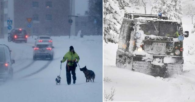 """Västernorrland ve Västerbotten yeni bir kar kaosu ve 2. sınıf uyarısıyla sarsıldı.  Polis ve İl İdare Kurulu, halkı evde kalmaya çağırıyor.  Polis sözcüsü Maria Linné """"Mecbur değilseniz trafiğe çıkmamalısınız"""" dedi.  Güçlü rüzgarlarla birlikte şiddetli kar yağışı Västernorrland ve Västerbotten bölgelerinde etkili oluyor."""