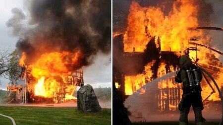 İsveç'te iki farklı bölgede bir ev ve bir villaya yıldırım düştü.  Hedemora belediyesindeki bir eve yıldırım düşmesi sonrasında yerle bir oldu.  Kurtarma servisinden Peter Bylin, evin tamamen yandığını söyledi.