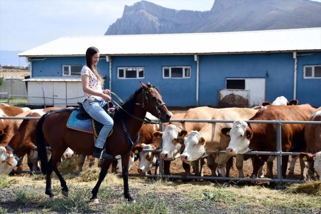 Kültürel bir değişim programından yararlanıp Ağrı'ya gelen Avustralyalı Alyssa Dunn, çiftlikte hem çalışma hem de tarihi ve turistlik yerleri tanıma fırsatı buldu.