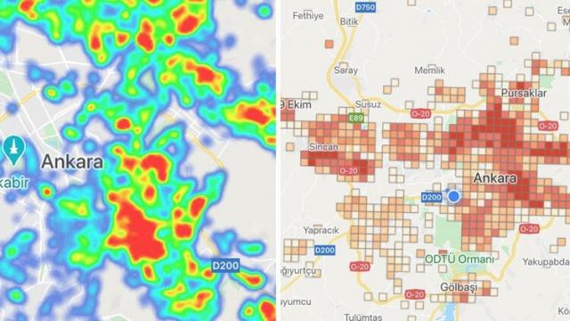 """""""Hayat Eve Sığar"""" uygulamasının Ankara için güncellenen risk haritasına göre kırmızı ile gösterilen (yüksek riskli) bölgeler yayılarak çoğalmış durumda. Nüfusun yoğun olduğu ilçelerde neredeyse vakanın olmadığı bölge yok.  Koronavirüs salgınında uzmanlar 'ikinci dalga' tehlikesine karşı uyarılar yaparken, Başkent'te bir süredir artan vaka sayıları dikkat çekiyor. Ay başında güncellenen 'Hayata Eve Sığar' uygulaması, Ankara'nın neredeyse tüm ilçelerinde kırmızıyla gösterilen yüksek riskli bölgelerin arttığına işaret ediyor. .Özellikle nüfusun yoğun olduğu merkez ilçelerde normalleşme sürecinin başladığı günden bu yana yüksek riskli bölgelerin yayılarak çoğalmış olduğu gözleniyor.  Sağlık Bakanı Fahrettin Koca'nın yaptığı açıklamaların ardından en çok vaka artışının görüldüğü illerden biri olan Ankara'da son durum şöyle:"""