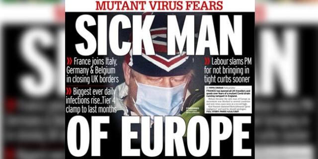 """İngiltere gazete manşetlerinde mutasyona uğrayan koronavirüse dair haberler yer alıyor.  Times gazetesi, """"Avrupa kapılarını İngiltere'ye kapattı"""" manşetiyle yayımlanırken Daily Mirror İngiltere Başbakanı Boris Johnson'ın fotoğrafının üzerine, """"Avrupa'nın hasta adamı"""" manşetini attı. Daily Mail, """"En kötü Noel, ızdırap daha sürecek gibi gözüküyor"""" manşetini, Financial Times gazetesi ise """"Kontrolden çıkan Covid-19 mutasyonu kısıtlamaların aylarca kalması demek"""" manşetini kullandı."""