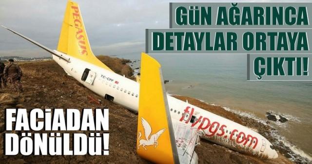 Pegasus Havayolları'nın dün akşam Ankara-Trabzon seferini yapan uçağının Trabzon Havalimanı'na inişi sırasında pistten çıkmasının ardından uçak ve kaza yeri günün ağarması ile havadan görüntülendi.
