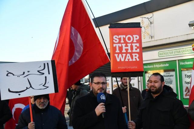 Kayseri'deki terör saldırısı ve Halep saldırıları, İsveç'in başkenti Stockholm'de protesto edildi.