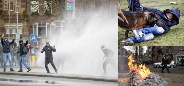 Hollanda'da, Covid-19 salgınıyla mücadele için uygulanan tedbirler ve sokağa çıkma kısıtlamalarına karşı Amsterdam ve Eindhoven kentlerinde düzenlenen protestolarda arbede çıktı. Polis, pazar günkü eylemlerde 150'den fazla göstericiyi gözaltına aldı.