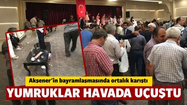 MHP Genel Başkanı Devlet Bahçeli'nin tepki gösterdiği Meral Akşener'in bayramlaşma töreninde büyük arbede çıktı.