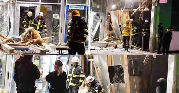 İsveç'in başkenti Stockholm'ün kuzeyinde bulunan Upplands Väsby bölgesindeki Bankamatiklere bombalı saldırı görüntüleri.