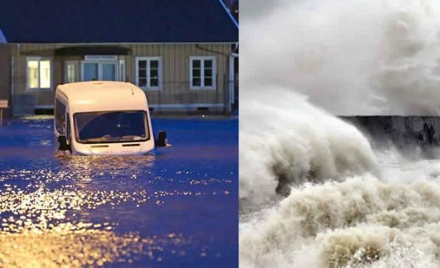 Batı Avrupa ve İskandinavya'da etkili olan fırtına nedeniyle İsveç kırmızı alarma geçti.