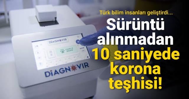"""Bilkent Üniversitesi Ulusal Nanoteknoloji Araştırma Merkezinde Türk araştırmacılar tarafından koronavirüs teşhisini 10 saniyede yüzde 99 güvenilirlikle ve burundan sürüntü almadan yapabilen nanoteknoloji temelli tanı sistemi geliştirildi.  Dünya genelinde ilk olacağı belirtilen yüksek teknoloji ürünü Türk malı """"Diagnovir"""" adlı sistemin yabancı menşeli PCR testlerinin yerini alması hedefleniyor."""