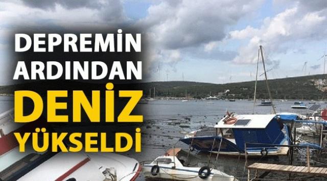 İzmir'i vuran, Ege ve Marmarayı sarsan 6.6 büyüklüğündeki depremin ardından, depremin merkez üssü olan Seferihisar'da denizin yükseldiği görüntüler şoke etti. Bayraklı ve Buca'da binaların yıkıldığı öğrenildi
