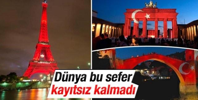 İstanbul'da 42 kişinin hayatını kaybettiği terör saldırısı sonrası, Avrupa dahil dünyanın çeşitli ülkelerinde binalar kırmızı beyaza büründü