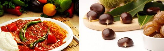 6- Bursa: Ünüyle artık dünyanın pek çok ülkesinde de bilinen iskender kebap Bursa'nın en eşsiz yemeklerinin başında gelir. Ayrıca en meşhur tatlısıda Uludağ'da yetişen kestanelerden yapılan Bursa kestane şekeridir.