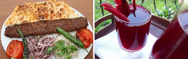 1- Adana: Şüphesiz ki en meşhur yemeği şehrin adını verdiği Adana kebabıdır. Ayrıca bol salatalı,sınırsız ikramla sunulması da kebabın lezzetini arttırıyor. Adana'nın en yaygın içeceği ise şalgam suyudur. Su gibi tüketilen şalgam, aynı zamanda havuç olarak da yeniliyor.
