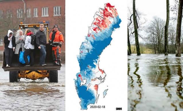 Kuzey ülkelerinde kış boyunca havaların ılıman ve yağışlı geçmesi nedeniyle yükselen sular tehlike arz ediyor.  Dennis fırtınası nedeniyle güney İsveç'in birçok kıyı bölgesinde su taşmaları meydana geldi.  SMHI, yeni yağışların etkili olacağı ve suların yükselmesiyle taşmaların meydana gelebileceği riski konusunda uyarılarda bulundu.