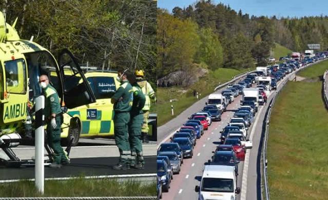 Sabah saatlerinde Järna'nın güneyindeki E4 karayolunda bir kamyon ve birkaç otomobilin karıştırğı bir kaza meydana geldi.