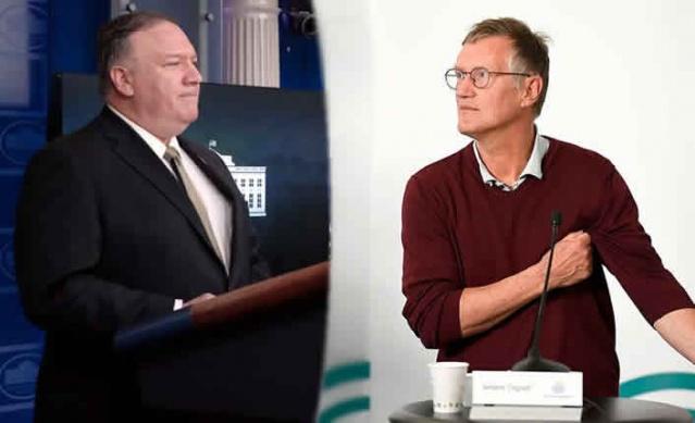 """ABD Dışişleri Bakanı, korona virüsünün insan yapımı olduğunu ve Çin'deki bir laboratuvardan geldiğini varsayarak ABD başkanı Trump'ın Çin virüsü iddialarını destekledi.   ABD'nin ısrar ettiği Çin yapımı virüs vurgusu tüm dünyada kabul görülmezken, İsveç'ten de yanıt geldi.  Devlet epidemiyoloğu Anders Tegnell bu ifadeler gerçeği yansıtmayan """"söylentiler"""" olarak niteledi.  Çin'in laboratuvarda virüsü üreterek yaydığı sorusu üzerine Tegnell: """"Bu yönde hiçbir kanıt görmedim"""" bunlar söylentiler ve dedikodulardan ibaret vurgusu yaptı."""