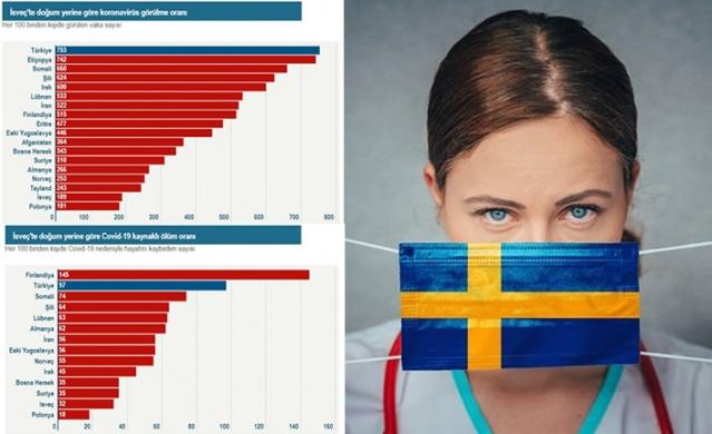 İsveç Kamu Sağlığı Ajansı yurt dışında doğduktan sonra İsveç'e gelenlerin koronavirüse yakalanma ve hayatını kaybetme riskinin İsveç'te doğup büyüyenlerden daha yüksek olduğunun tespit edildiğini açıkladı. Ajans tarafından yayınlanan raporda hastalığın görülme oranının en yüksek olduğu topluluğun Türkiye doğumlular olduğu vurgulandı.