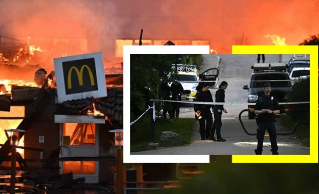 Başkent Stockholm'ün güneyindeki Östberga kentinde bulunan McDonalds restoranında çıkan yangın, restoranı yok etti.  Gece saat 02 sıralarında çıkan yangınla kısa sürede alevler içinde kalan restoran, bir türlü söndürülemedi.   Sabah saat yediye kadar müdahale edilen yangın zor kontrol altına alınabilirken, soruşturma kapsamında restoranla ilgili farklı bilgiler ortaya çıktı.