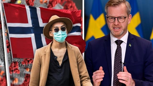 """İçişleri Bakanı Mikael Damberg bugün yaptığı açıklamada, İsveç'in Norveç'ten giriş yasağı getirdiğini duyurdu.   İçişleri Bakanı Damberg, """"Yasak bu gece yarısından 14 Şubat'a kadar geçerli"""" olacak dedi.  Ulaşım, işe gidiş geliş ve acil aile iletişimlerinin kısıtlamdan muaf tutulduğu söylendi."""