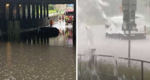 Stockholm'de alışılmamış su baskını görüntüleri