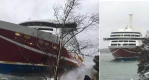 Şiddetli rüzgar dev gemiyi karaya oturttu