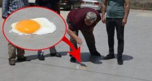 Rekor sıcakta yolda yumurta pişirdiler