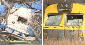 İsveç'te trenin çarptığı otobüs paramparça!