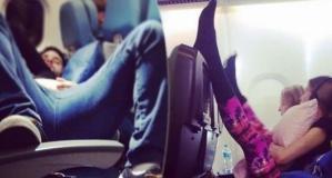 Uçaklarda fazla rahat olan problemli yolcu hareketleri