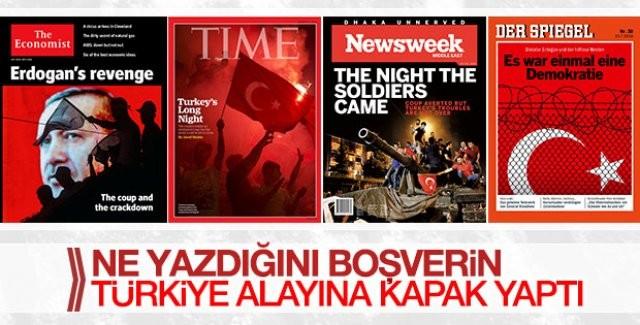"""Darbe girişiminin başarısızlıkla sonuçlanmasının ardından dünyaca ünlü dergiler """"yenilgi"""" psikolojisiyle hareket ediyor.  VAHŞETİ BİLEREK GÖRMÜYORLAR  Bu medya kuruluşları, katledilen insanların hikayelerini ve vahşet anlarını haberlerinde kullanmaktan kaçındı. Yayınlarda, Türk halkına da hakarete varan ifadeler kullanıldı.  DIŞ HABERCİ SELİM ATALAY'DAN DIŞ BASINA MUHTEŞEM KAPAK  Bir dönem ABD'den haber geçen başarılı gazeteci Selim Atalay durumu şöyle özetliyor;"""
