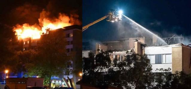 Landskorona şehrindeki bir apartmanda çıkan yangın sonrasında birkaç daire tamamen kullanılamaz hale geldi.