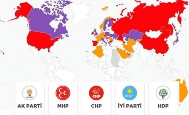 Türkiye Cumhuriyeti, 1923 yılından bu yana ilk kez hem yürütme hem de yasamayı aynı anda seçmek için sandığa gitti. 16 Nisan 2017'deki referandumla kesinleşen yeni hükümet sisteminde seçmenler hem cumhurbaşkanını hem de milletvekillerini seçmek için oy kullandı. Yurt dışında kullanılan oyların da sonuçları gelmeye başladı. Yurdışında yaşayan vatandaşlar tercihini hangi yönde kullandı? İşte ülke ülke yurtdışı seçim sonuçları...