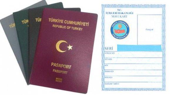 2018 yılında pasaport 108, mavi kart 10 lira