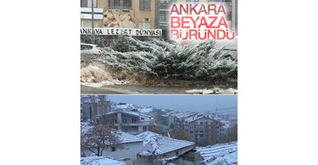 Ankara ve Kulu güne karla uyandı