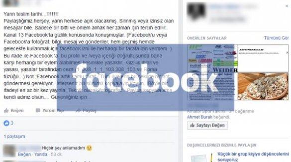 Facebook'ta ''paylaştığımız her şey yarın herkese açık olacak'' yalanı