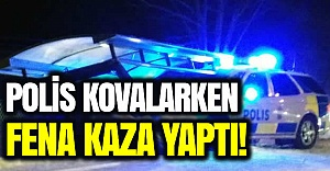 İsveç polisi kovalamacada feci kaza yaptı