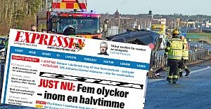 İsveç'te yarım saat içinde 5 kaza