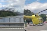 Lidingö'de bir kişi vuruldu Helikopter araç yoluna indi