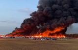 Havalimanı otoparkında dev yangın!