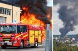 Gävle'deki geri dönüşüm merkezinde büyük yangın