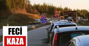 E4'de büyük kaza, karayolu trafiğe kapatıldı