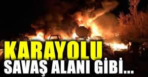 Karayolu savaş alanına döndü çok sayıda ölü!