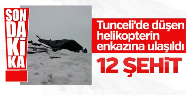 Tunceli'de düşen helikopterin enkazına ulaşıldı